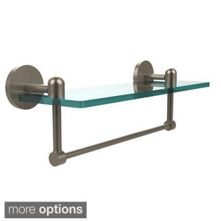 Tango Collection 16-inch Glass Vanity Shelf with Integrated Towel Bar