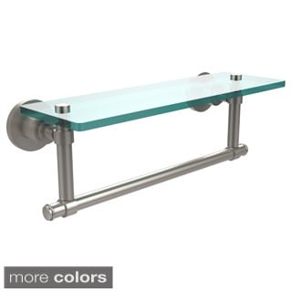 Washington Square Collection 16-inch Glass Vanity Shelf with Integrated Towel Bar