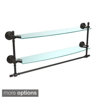 Retro Dot Collection 24-inch Two Tiered Glass Shelf with Integrated Towel Bar