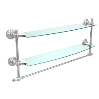 Retro Wave Collection 24-inch Two Tiered Glass Shelf with Integrated Towel Bar