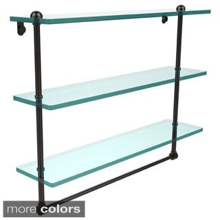 22-inch Triple Tiered Glass Shelf with Integrated Towel Bar