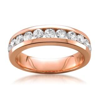 Montebello 14k Rose Gold 1ct TDW White Diamond Channel-set Wedding Band (G-H, SI1-SI2)