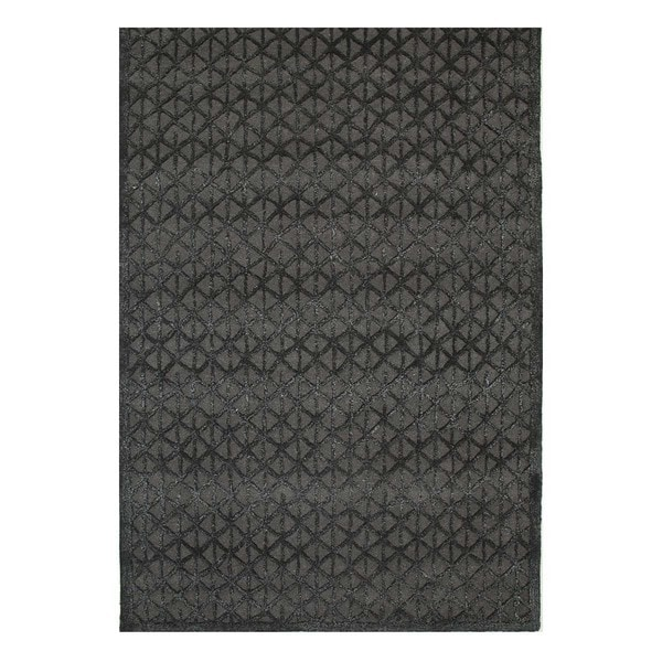 Hand-Tufted Patterned Charcoal Slate/Black Olive Wool/Viscose (5x8) Area Rug