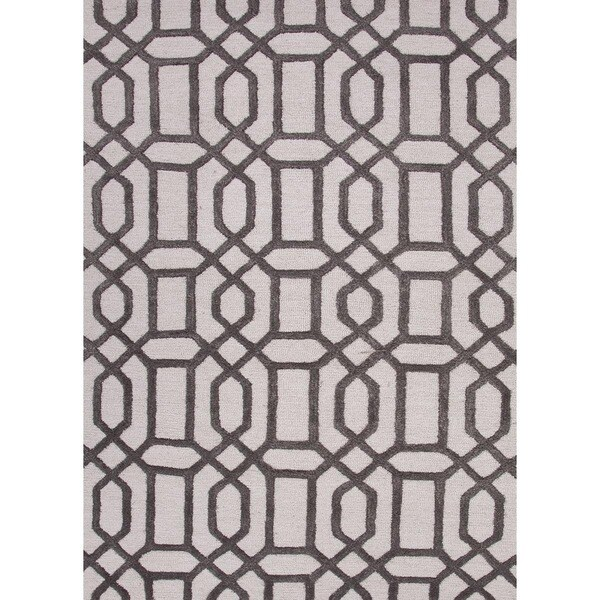 Hand-Tufted Contemporary Light Grey/Charcoal Grey Wool/Viscose (6x6) Area Rug