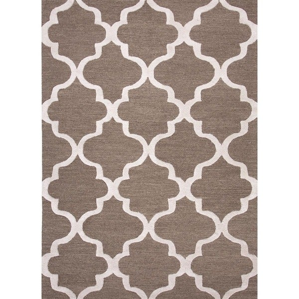 Hand-Tufted Contemporary Shitake/Light Grey Wool (6x6) Area Rug