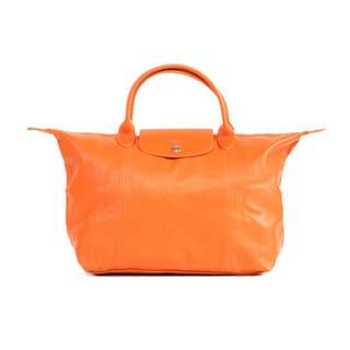 Longchamp Orange Le Pliage Cuir Medium Handbag