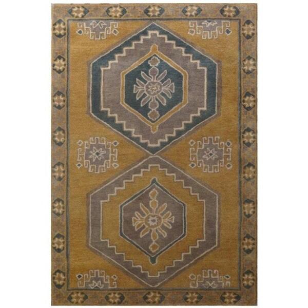 Hand-Tufted Classic Ochre/Ochre Wool (5x8) Area Rug