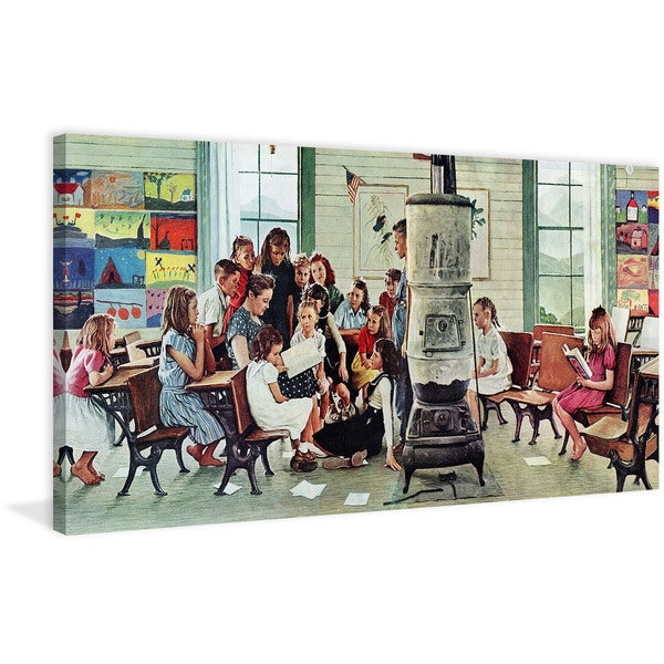 "Marmont Hill - ""Norman Rockwell Visits a Country School"" by Norman Rockwell Painting Print on Canvas"