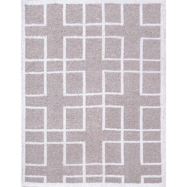 Hand-Tufted Contemporary Natural/Natural Wool (5x8) Area Rug