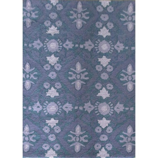 Hand-Tufted Classic Purple/Light Grey Polyester (5x7.6) Area Rug