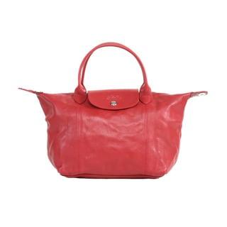 Longchamp Red Le Pliage Cuir Small Handbag