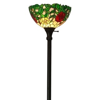 Amora Lighting Tiffany-style Roses 72-inch Floor Torchiere Lamp