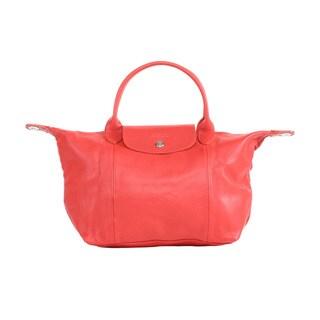 Longchamp Vermillion Le Pliage Cuir Small Handbag with Strap
