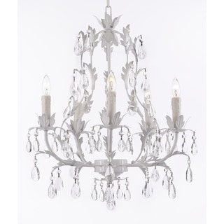 Wrought Iron and Crystal 5-Light White Chandelier
