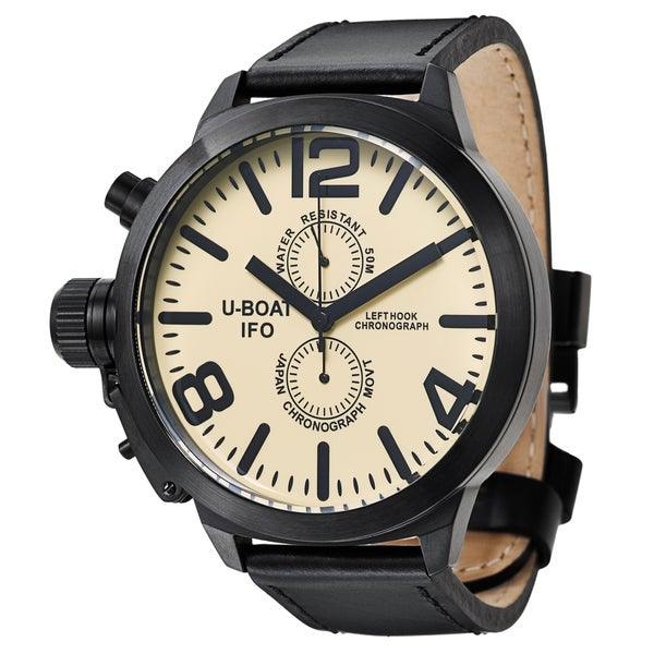 U-Boat Men's 'Left Hook' Stainless Steel Black Ion-plated Quartz Watch