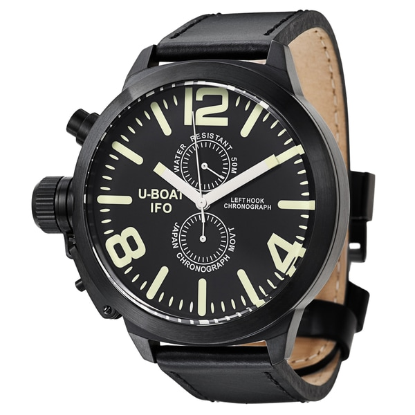 U-Boat Men's 'Left Hook' Black Ion-plated Stainless Steel Black Dial Quartz Watch