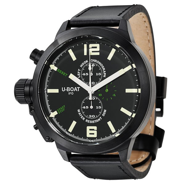 U-Boat Men's 'Left Hook' Black Ion-plated Stainless Steel Quartz Watch