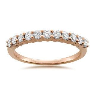 14k Rose Gold 1/2ct TDW White Diamond Prong-set Wedding Band (G-H, SI1-SI2)