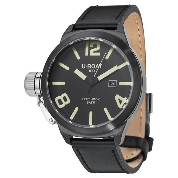 U-Boat Men's 'Left Hook' Black Ion-plated Stainless Steel Quartz Watch