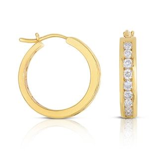 Eloquence 14k Yellow Gold 1/2ct TDW Diamond Hoop Earrings (H-I, I1-I2)