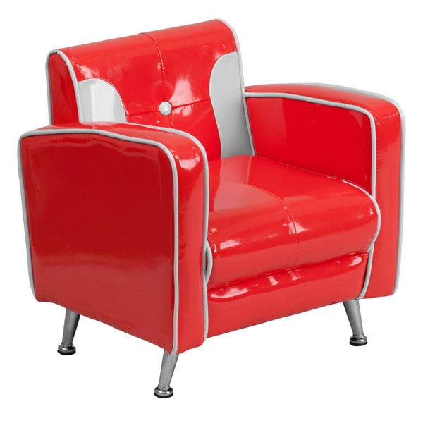 Kids Plastic Red and White Retro Chair