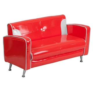 Kids Plastic Red and White Loveseat