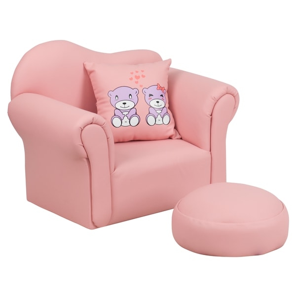 Kids Plastic Pink Chair and Footrest