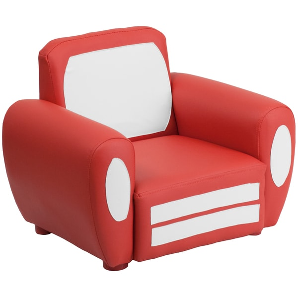 Red and White Kids Plastic Car Chair