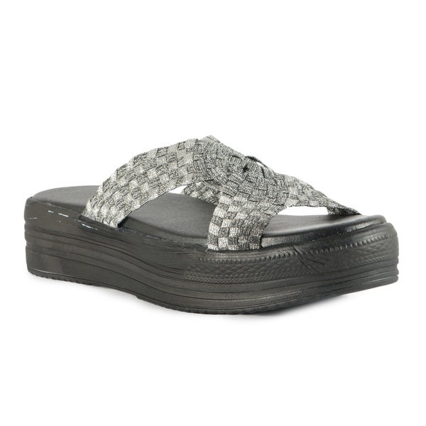 Silver Cross Band Black Outsole Flatform Sandals