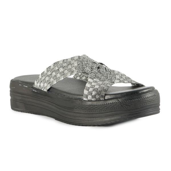Silver Cross Band Black Outsole Flatform Sandals