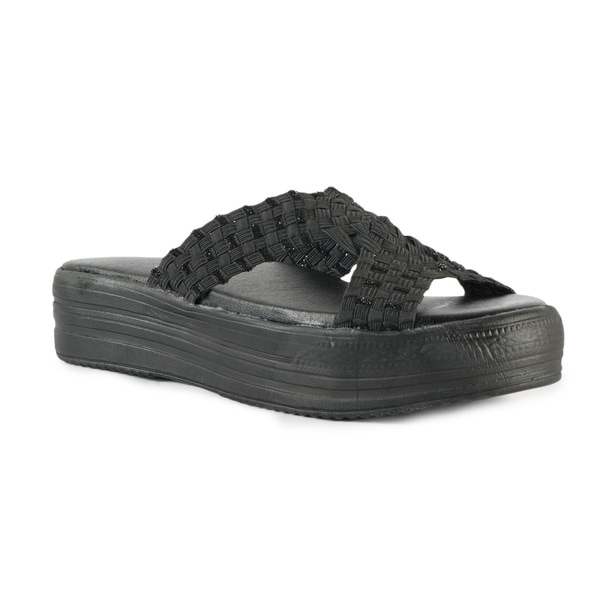 Women's Black Sparkle Cross Band Flatform Sandals