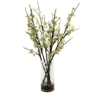 D&W Silks White Peach Blossom Branches in Glass Vase