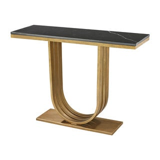 LS Dimond Home Gold Leaf And Black Marble Olympia Console