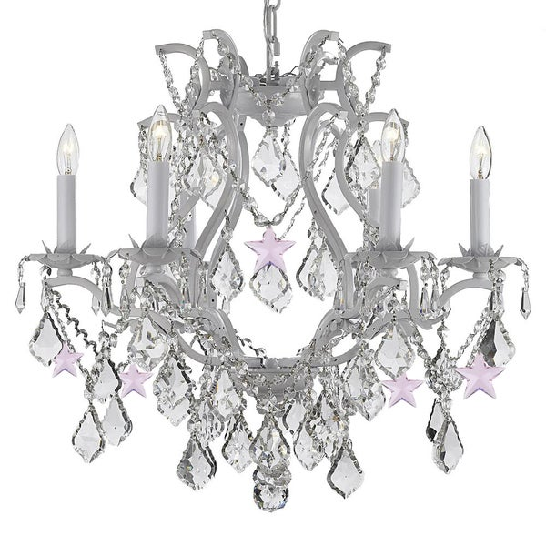 Wrought Iron And Crystal White Chandelier With Pink
