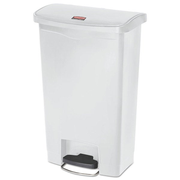 Rubbermaid Slim Jim Resin White 13 gal Step-On Container