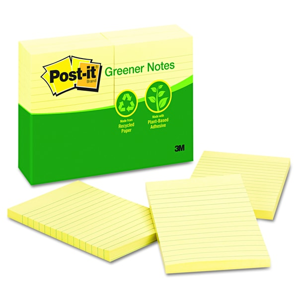 Post-it Greener Notes Canary Yellow Recycled Notes (Pack of 12)