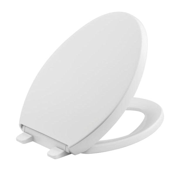 Reveal Quiet-Close Closed Front Toilet Seat with Grip-tight Bumpers in White