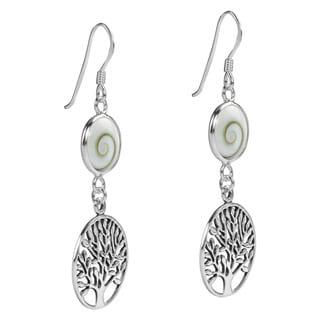 Tree of Life Swirl Shiva Shell .925 Silver Dangle Earrings (Thailand)