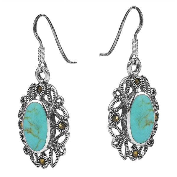 Filigree Marcasite Turquoise Sterling Silver Earrings (Thailand)