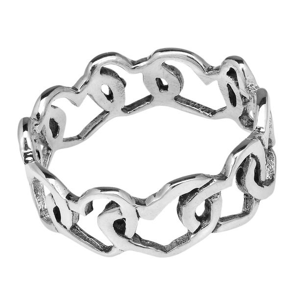 Hearts Enduring Love Sterling Silver Eternity Ring (Thailand)