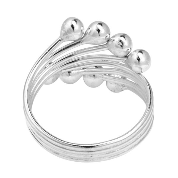 Whistling Splash Coil Ball Wrap Sterling Silver Ring (Thailand)