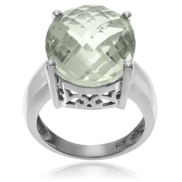 Journee Collection Rhodium-plated Sterling Silver Green Amethyst Oval Ring