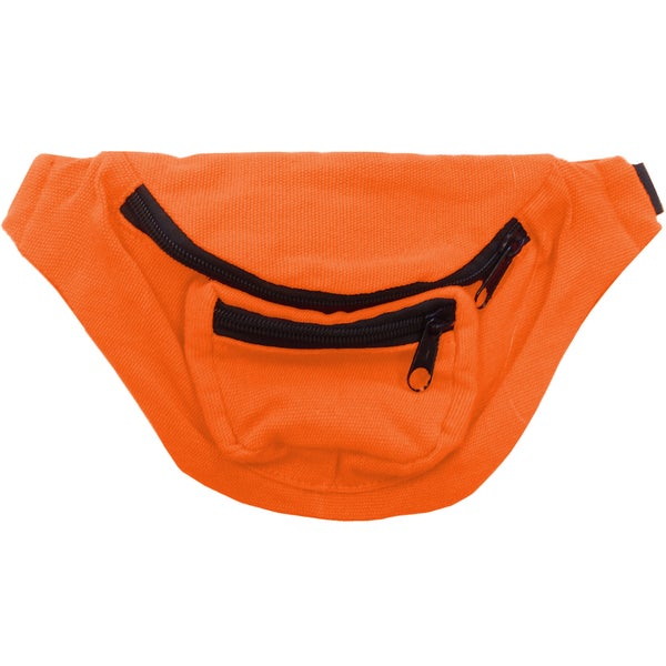 Bright Orange Fanny Pack Bag Bright Rave Club Festival 3-Pocket Adjustable
