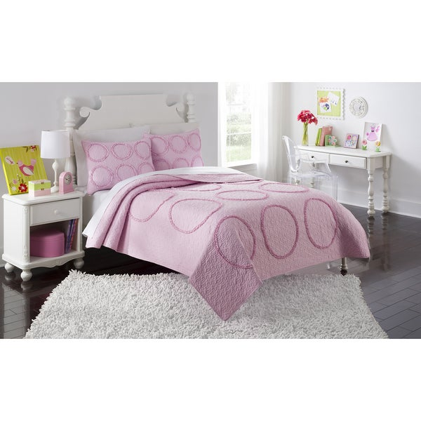 Charlotte Pink Ruffled Twin/ Full Quilt Set