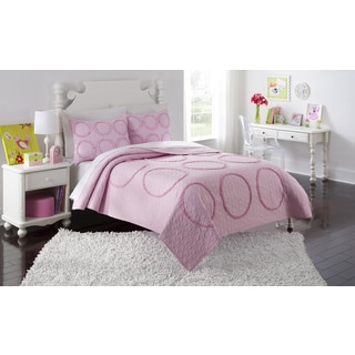 Charlotte Pink Ruffled 3-piece Quilt Set