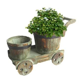 Barrel Cart Planter 15865259