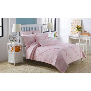 Diamond Pink Ruffle 3-piece Quilt Set