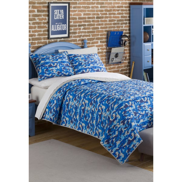 Jordan Blue Camo Twin/ Full Quilt Set