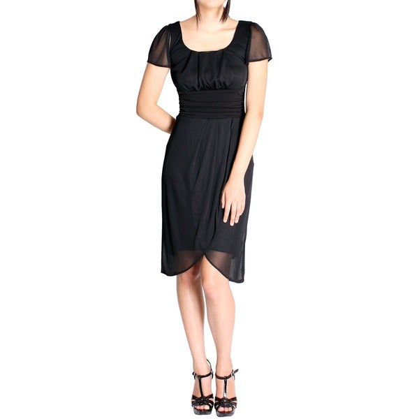 Evanese Women's Black Pleated Faux-wrap Short Sleeve Dress (As Is Item)