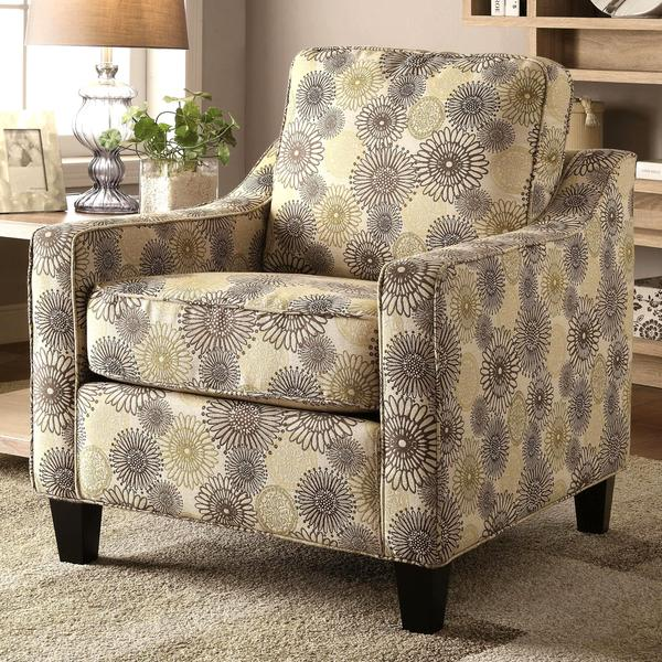 Contemporary Multi Color Floral Print Accent Chair